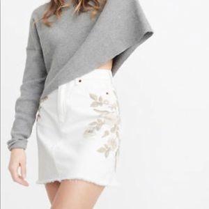 A&F White Denim Skirt